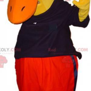 Riesiges gelbes Entenmaskottchen in Schwarz und Rot gekleidet -