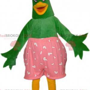 Zelený a žlutý kachní pták maskot s růžovými spodky -