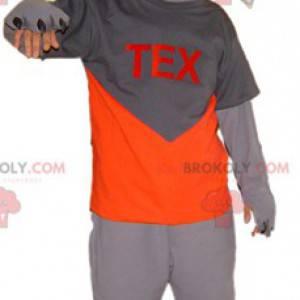 Gray and white cat mascot. Tex mascot - Redbrokoly.com