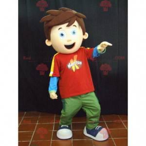 Kleines Jungenmaskottchen mit braunen Haaren - Redbrokoly.com