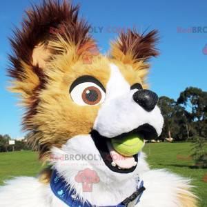 Bílý béžový a hnědý psí maskot - Redbrokoly.com