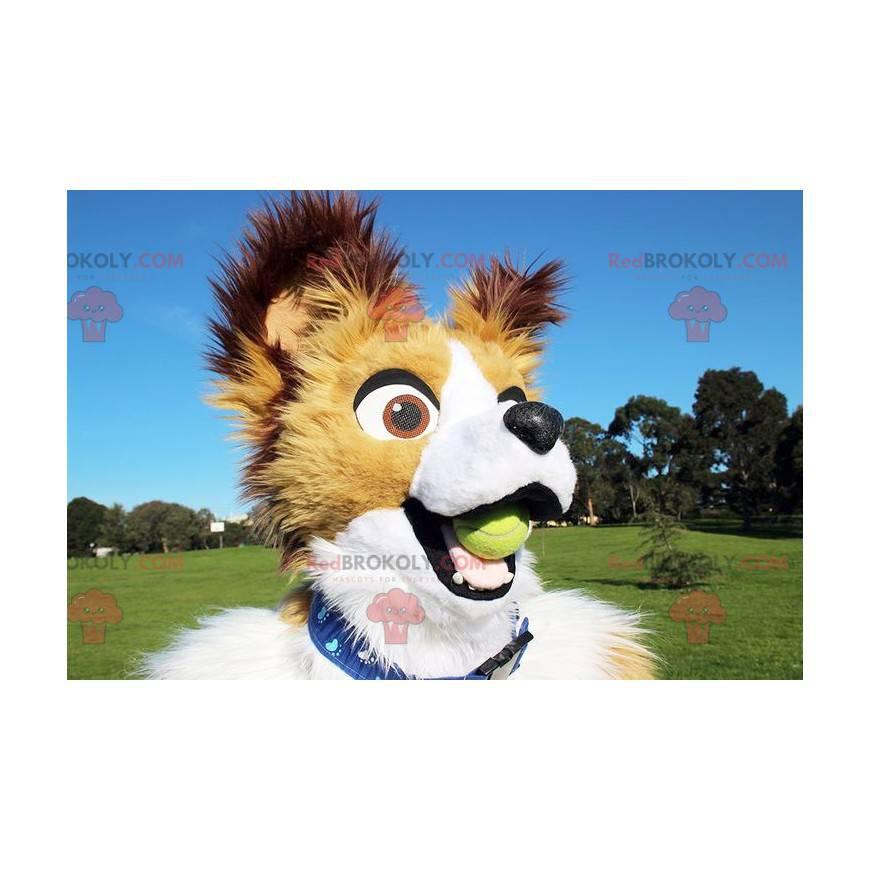 Weißes beige und braunes Hundemaskottchen - Redbrokoly.com