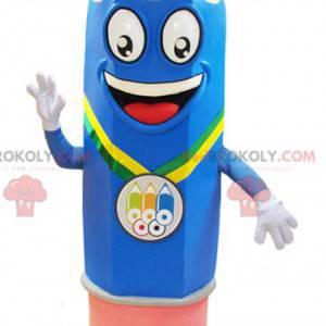 Mascot giant blue and pink pencil very smiling - Redbrokoly.com