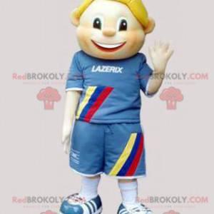 Blonder Junge des Kindermaskottchens gekleidet in Blau -