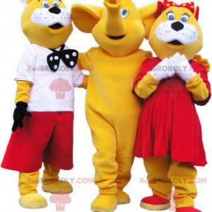 3 maskoter: 2 gule og hvite katter og en elefant -