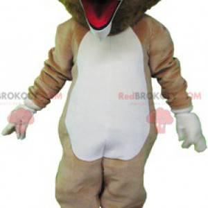 Velmi vtipný béžový a bílý lev maskot - Redbrokoly.com
