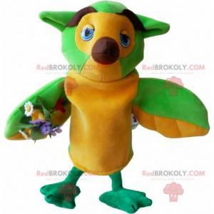 Velmi vtipný maskot žluté a hnědé sovy - Redbrokoly.com