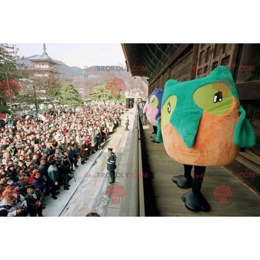 2 colorful owl bird mascots - Redbrokoly.com
