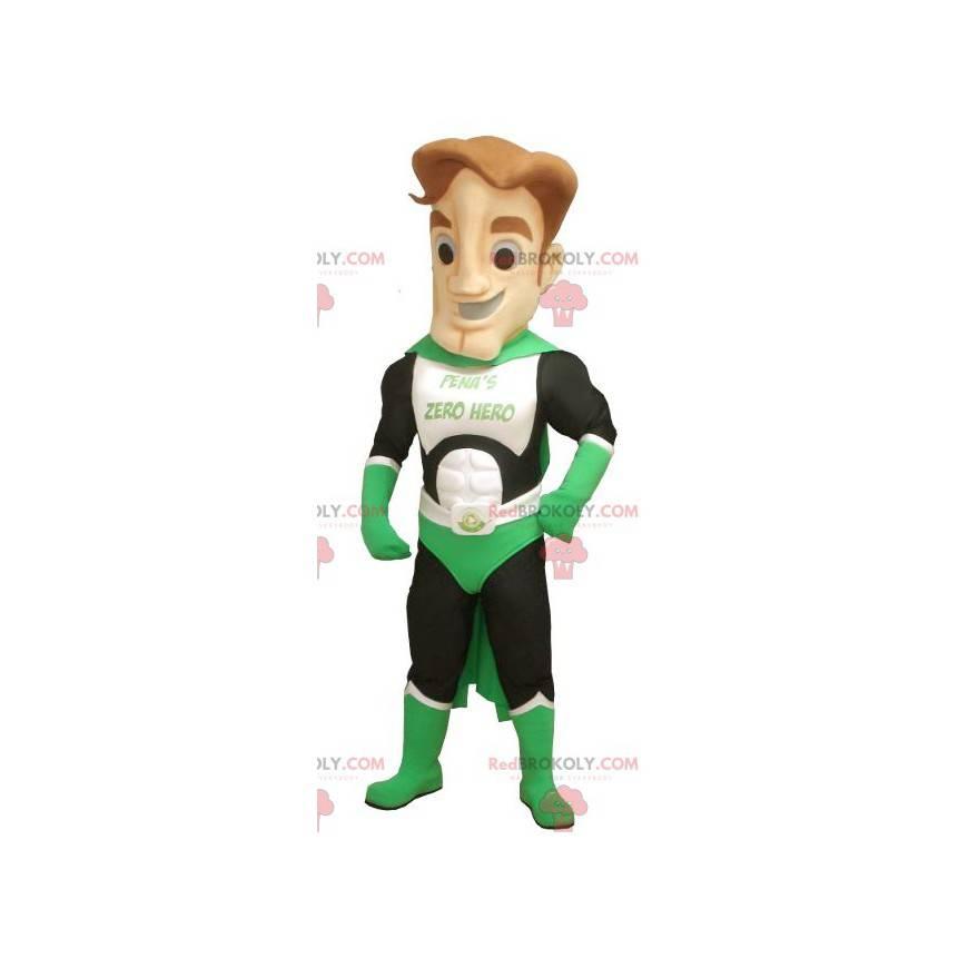 Grünes weißes und schwarzes Superheldenmaskottchen -