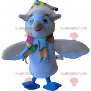 Beżowo-biała sowa maskotka z szalikiem i czapką - Redbrokoly.com