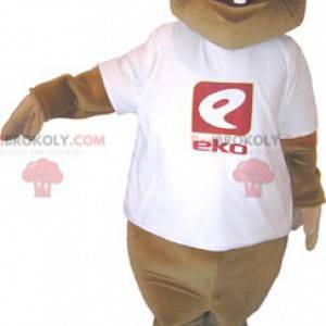 Maskot hnědý bobr s bílým tričkem - Redbrokoly.com