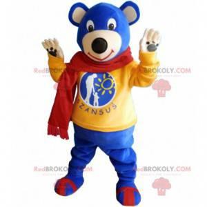 Modrý plyšový maskot se žlutým svetrem a šátkem - Redbrokoly.com