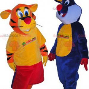 2 maskoter: en oransje tiger og en blå kanin - Redbrokoly.com
