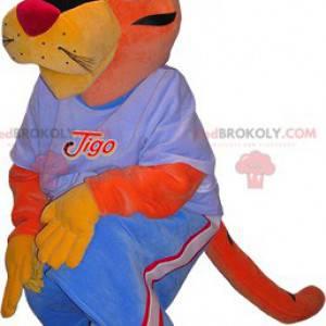 Oranžový a žlutý tygr maskot s modrým oblečením - Redbrokoly.com
