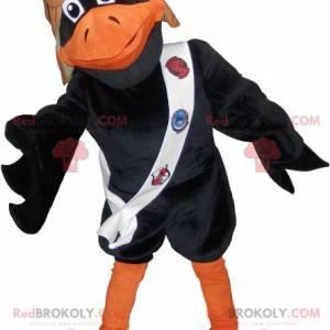 Černá a oranžová maskot vrána s pilotní přilbou - Redbrokoly.com