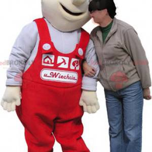 White worker mascot with red overalls - Redbrokoly.com
