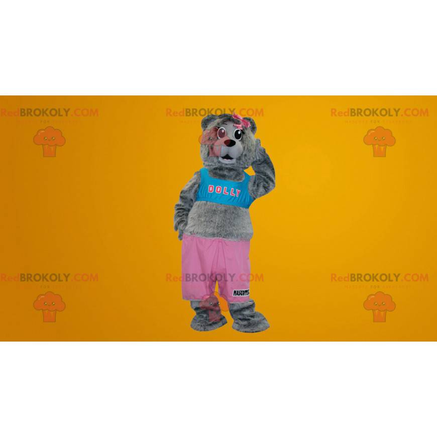 Gray teddy bear mascot dressed in pink and blue - Redbrokoly.com