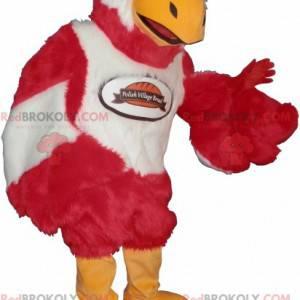 Sladký a roztomilý červený a bílý pták maskot - Redbrokoly.com