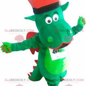 Grønn og rød drage maskot med hatt - Redbrokoly.com