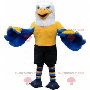 Maskot modrá žlutá a bílá orlice v sportovní oblečení -