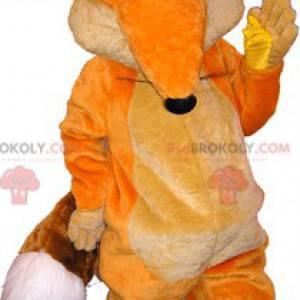 Pomarańczowy i biały lis maskotka z niebieskimi oczami -