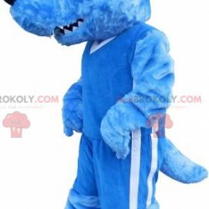 Maskot modrý vlk s červeným hřebenem a divokým vzhledem -