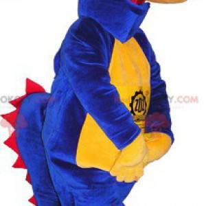 Niebieski, żółty i czerwony dinozaur maskotka - Redbrokoly.com