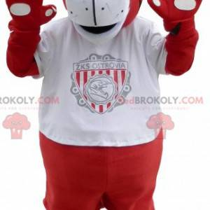 Red and white tiger mascot in sportswear - Redbrokoly.com