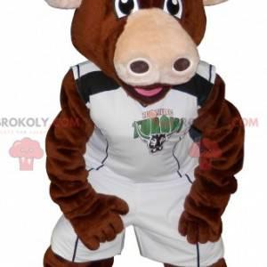 Brown Cow Bull Maskottchen in Sportbekleidung - Redbrokoly.com