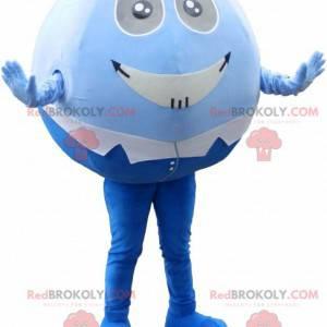Kulatý a zábavný maskot modré a bílé sněhulák - Redbrokoly.com