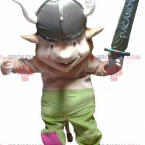 Maskot skřítek Gnome ve vikingském oblečení - Redbrokoly.com