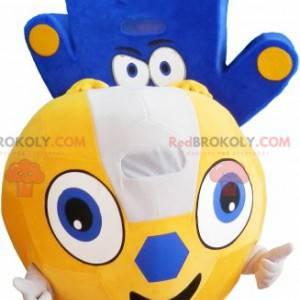 2 mascots: a yellow balloon and a blue hand - Redbrokoly.com