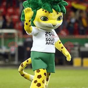 Geflecktes gelbes Tigermaskottchen mit grünem Haar -