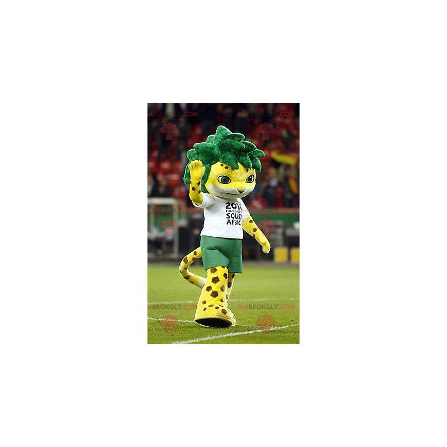 Spotted yellow tiger mascot with green hair - Redbrokoly.com