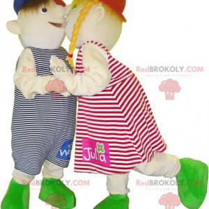2 dětské maskoti, dívka a chlapec - Redbrokoly.com