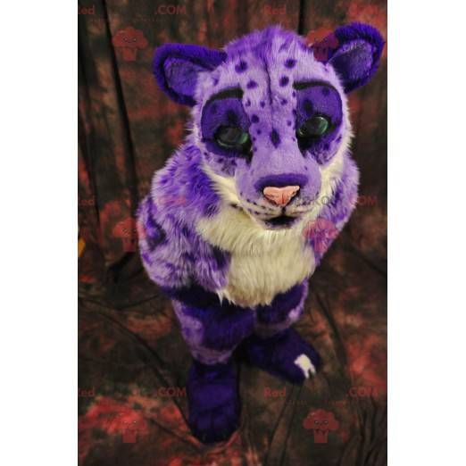 Purple and white cheetah feline tiger mascot - Redbrokoly.com