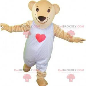 Maskot medvídek béžový v pyžamu - Redbrokoly.com