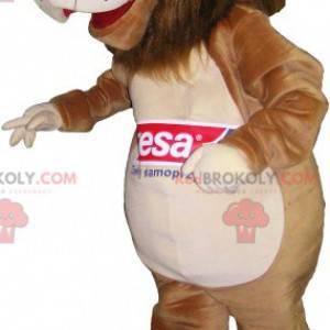 Hnědý a béžový maskot lva - Redbrokoly.com