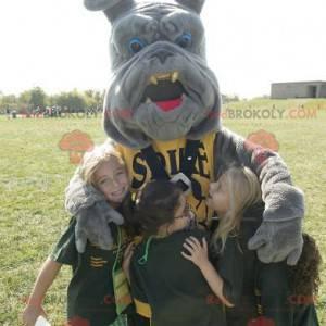 Gray bulldog mascot - Redbrokoly.com