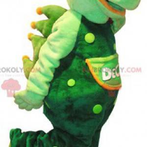 Obří a velmi realistický zelený krokodýlí maskot -