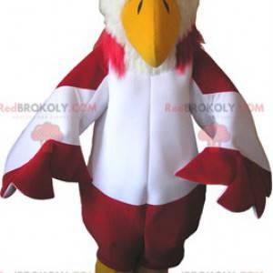 Červený a bílý sup maskot se žlutými botami - Redbrokoly.com
