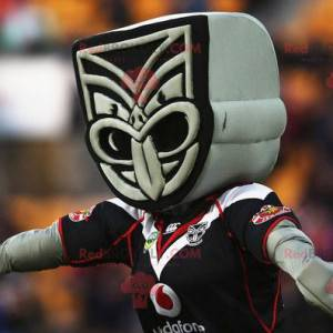 Maskottchen der grauen und schwarzen Maori-Statue -
