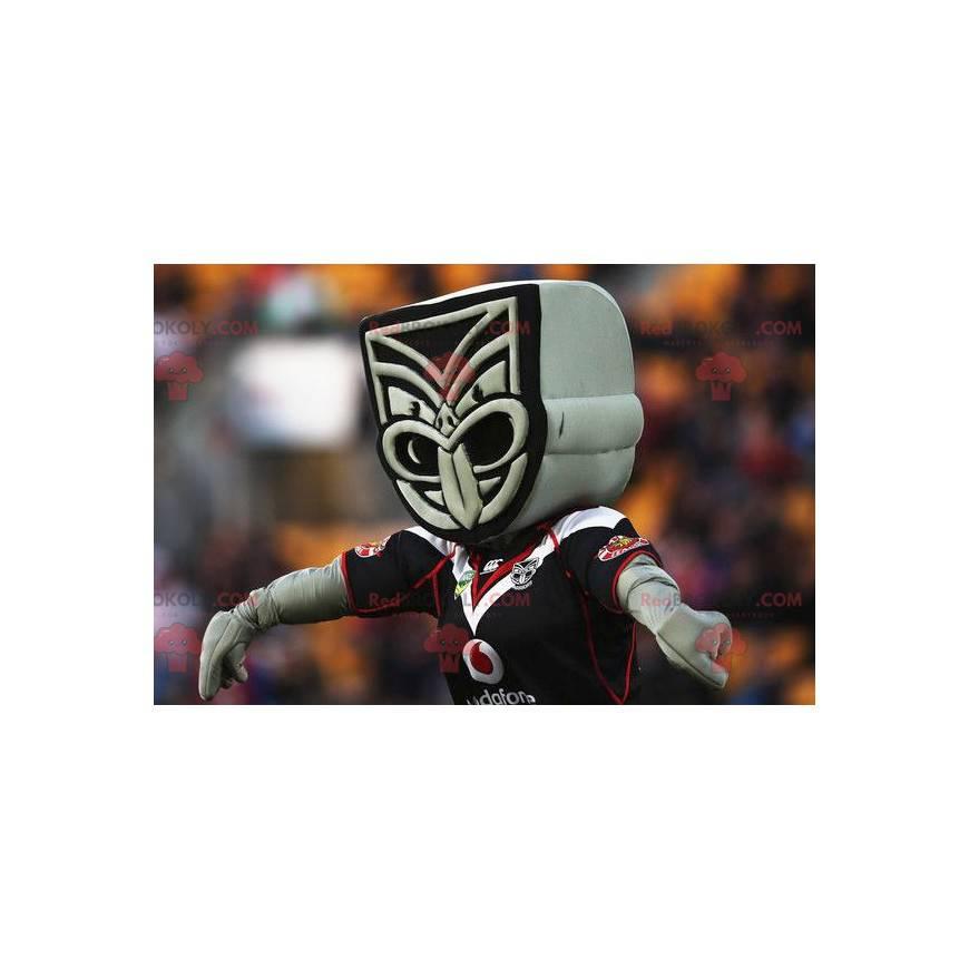 Gray and black Maori statue mascot - Redbrokoly.com