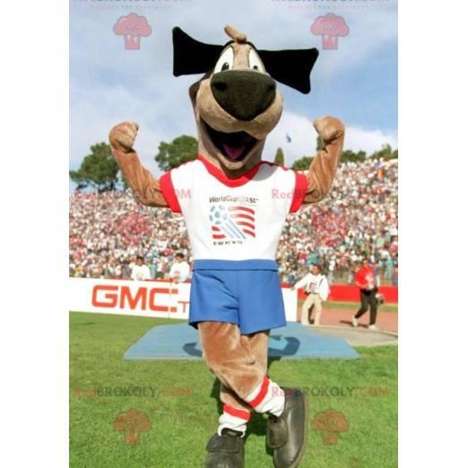 Hnědý psí pejsek maskot ve sportovním oblečení - Redbrokoly.com