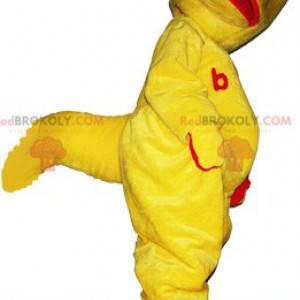 Lustiges gelbes und rotes Dinosaurierkreaturenmaskottchen -