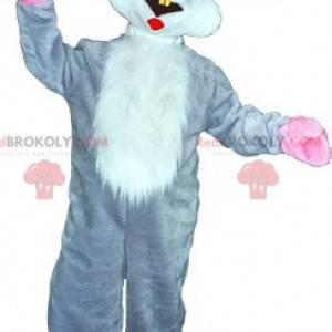Obří šedý a bílý králík maskot - Redbrokoly.com