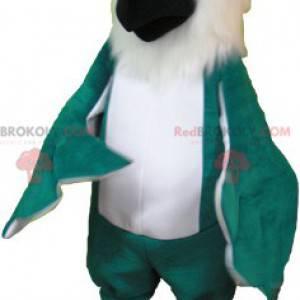 Gigantisk hvit og grønn fuglepapegøyemaskot - Redbrokoly.com