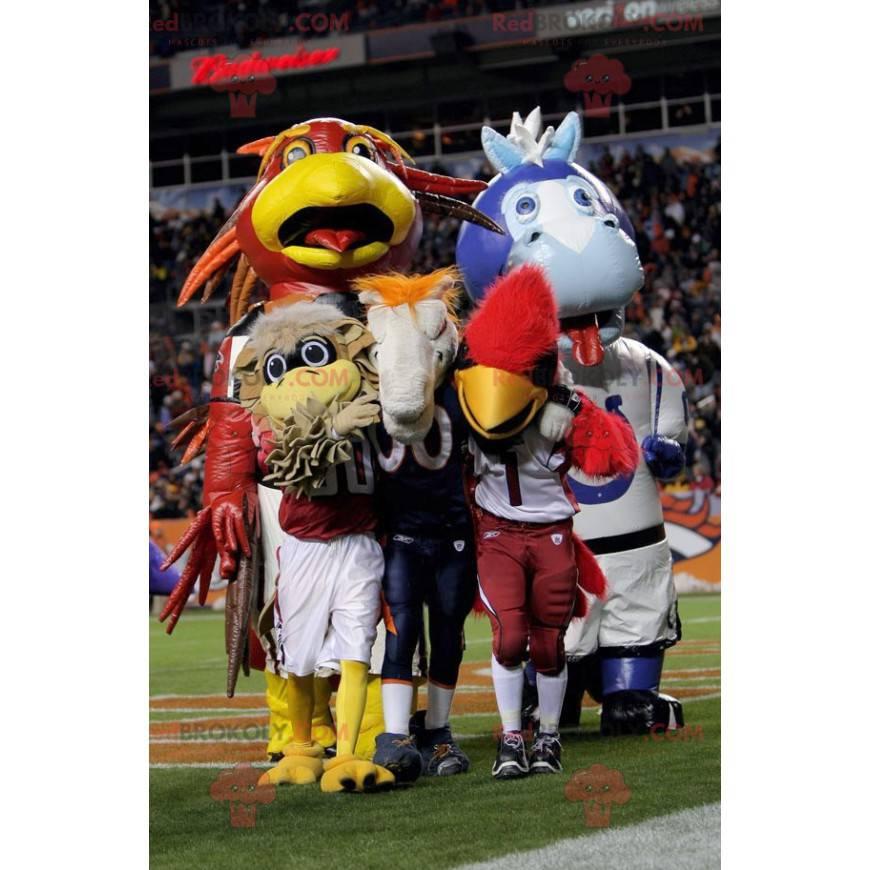 Velký modrý a hnědý pták maskot - Redbrokoly.com