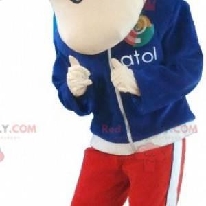Ung maskot i treningsdrakt med oppreist hår - Redbrokoly.com
