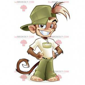Brown monkey mascot in green and white outfit - Redbrokoly.com